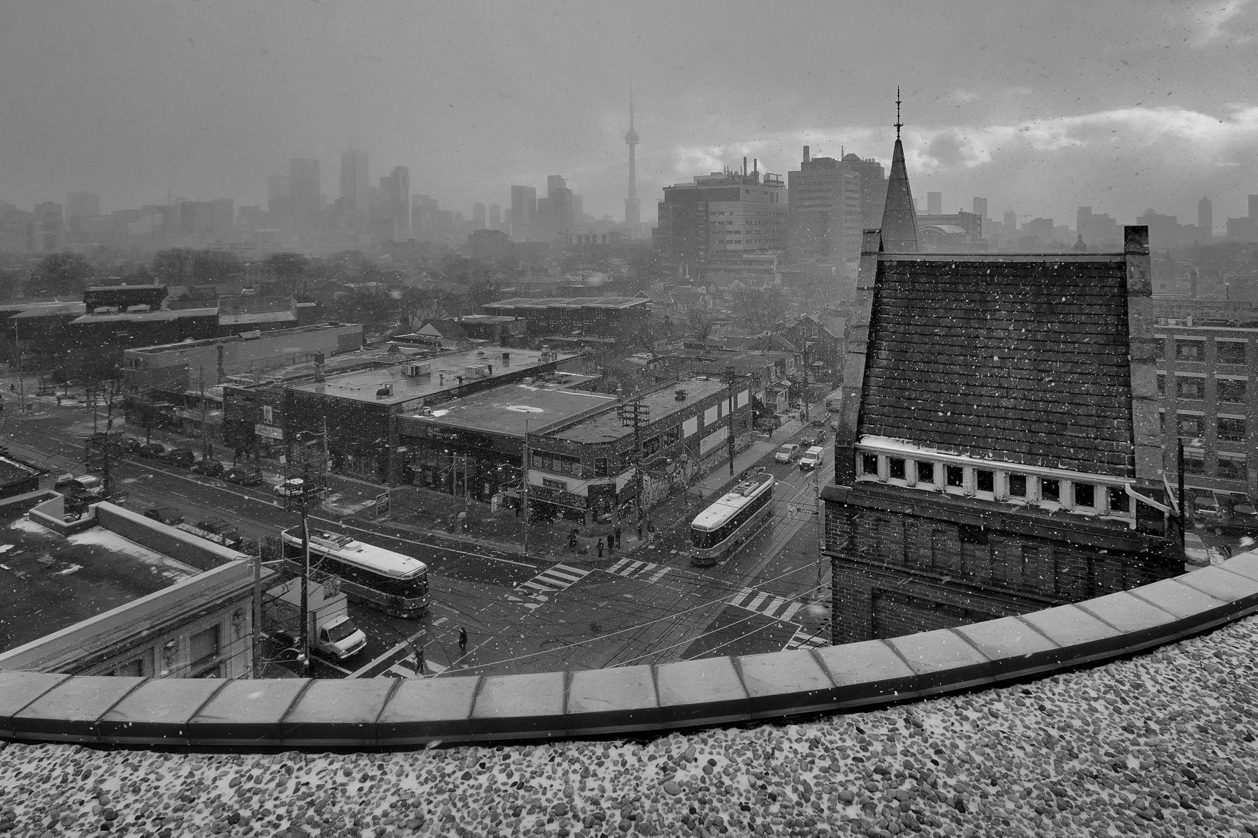 """From the book """"Views of the CN Tower"""". Bathurst and College St., View South."""