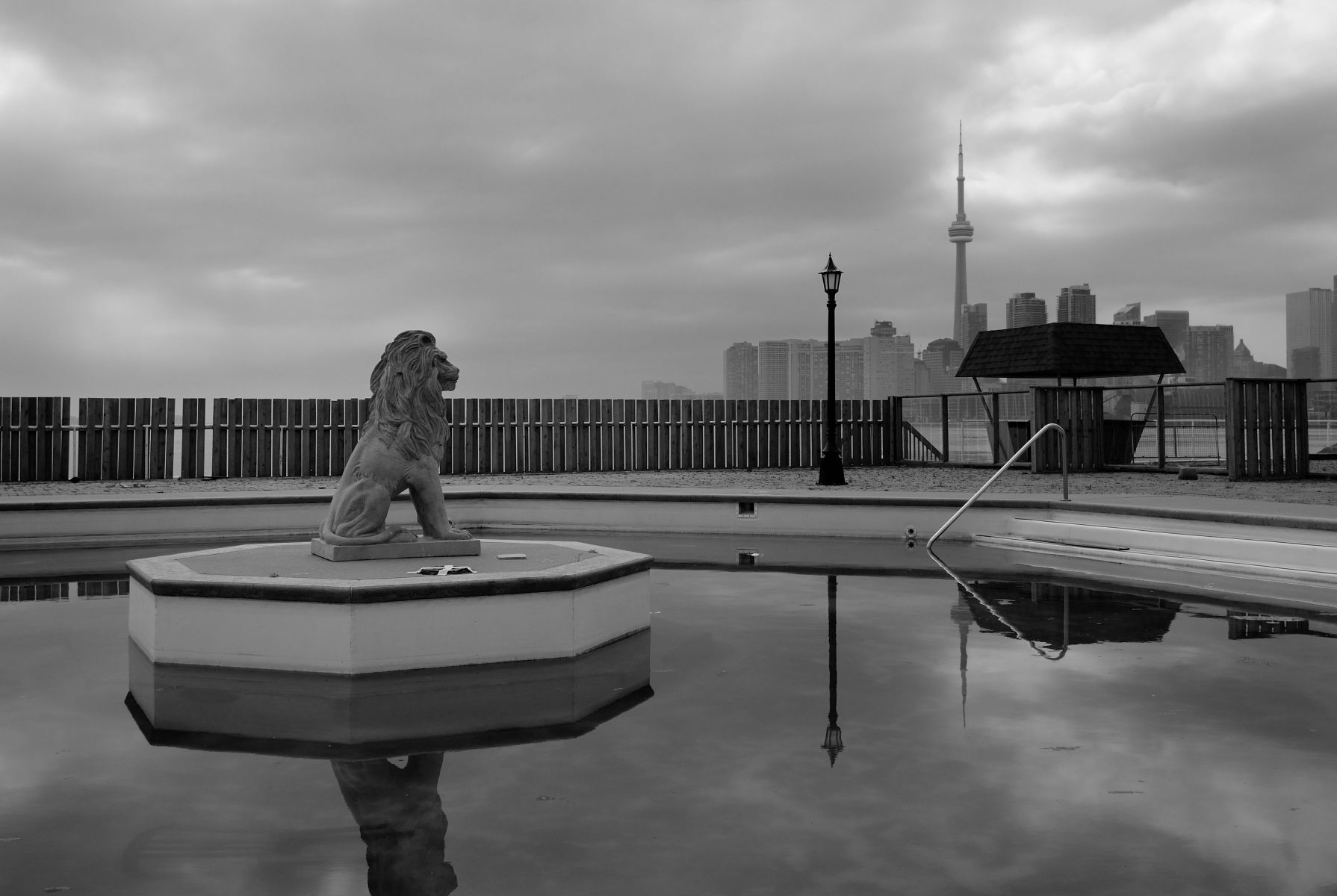 "From the book ""Views of the CN Tower""; Oasis Swimming Pool, Port Lands, Toronto. View North-West"