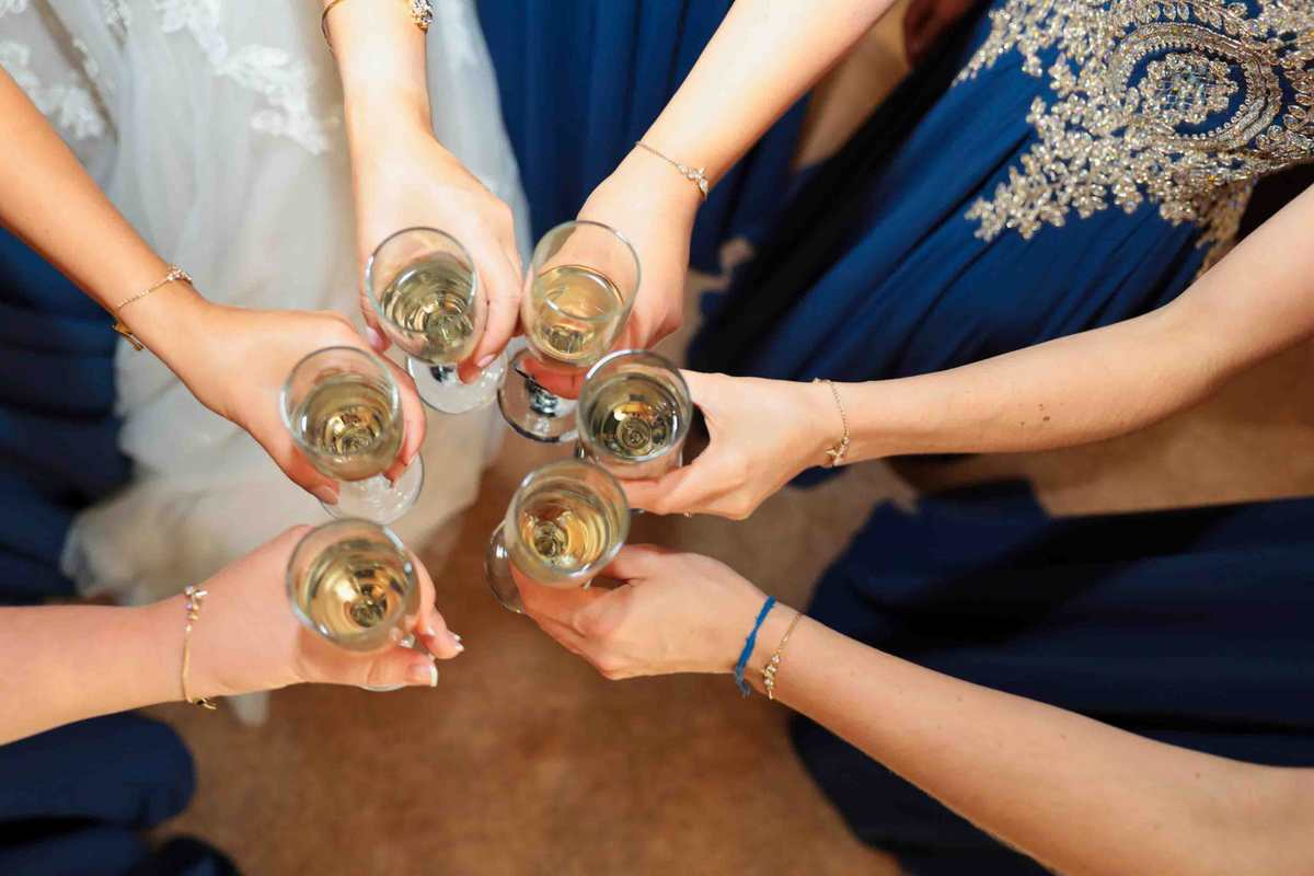 Bridesmaids and champagne