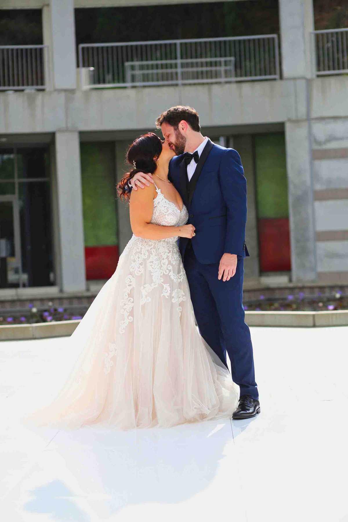 First look wedding kiss