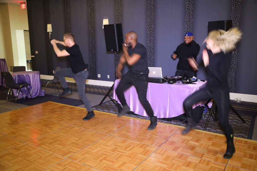 The dancers light up the Bat Mitzvah event.