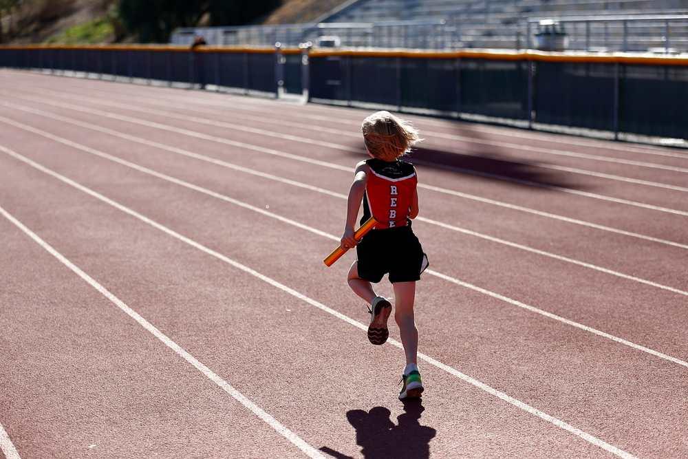 Sebby doing the 400m relay