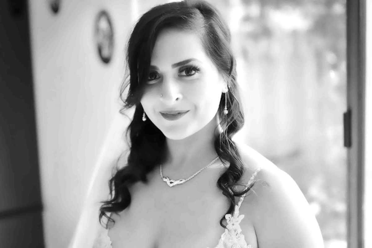 Black and White Wedding Photo of Michelle