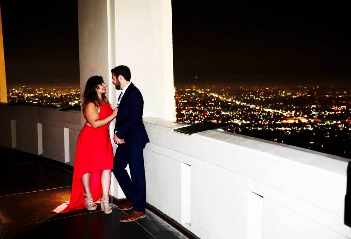 Griffith Park Observatory Engagement shoot overlooking LA