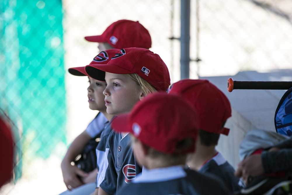 Youth Baseball - in the dugout.