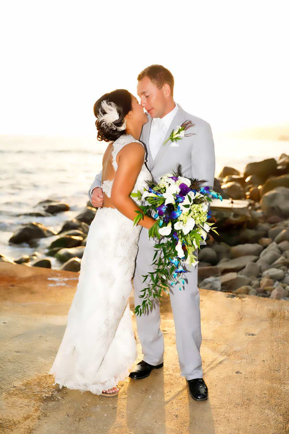 Newly married on the beach