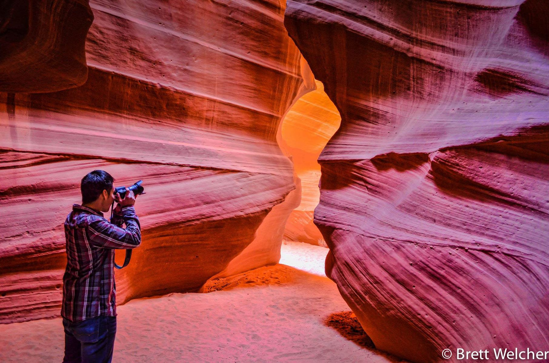 Antelope Canyon is the most visited and most photographed slot canyon in the American Southwest. It is located on Navajo land near Page, Arizona and was once home to herds of pronghorn antelope. Today, it holds one of our planet's greatest natural art gall