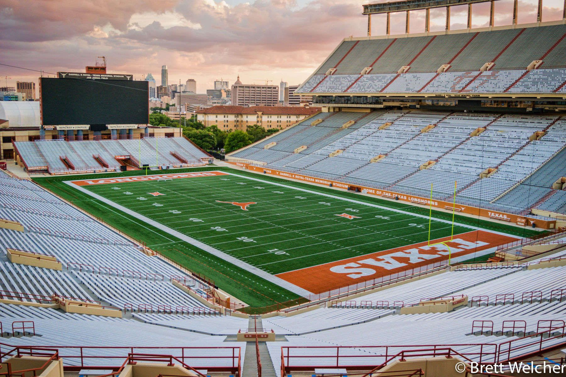 The Darrell K Royal–Texas Memorial Stadium located in Austin, Texas, has been home to the University of Texas at Austin Longhorns football team since 1924.