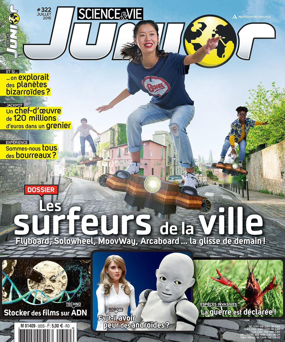Photo cover for Sciences&Vie Junior Magazine (n°322, July 2016 - France), Flyboard topic