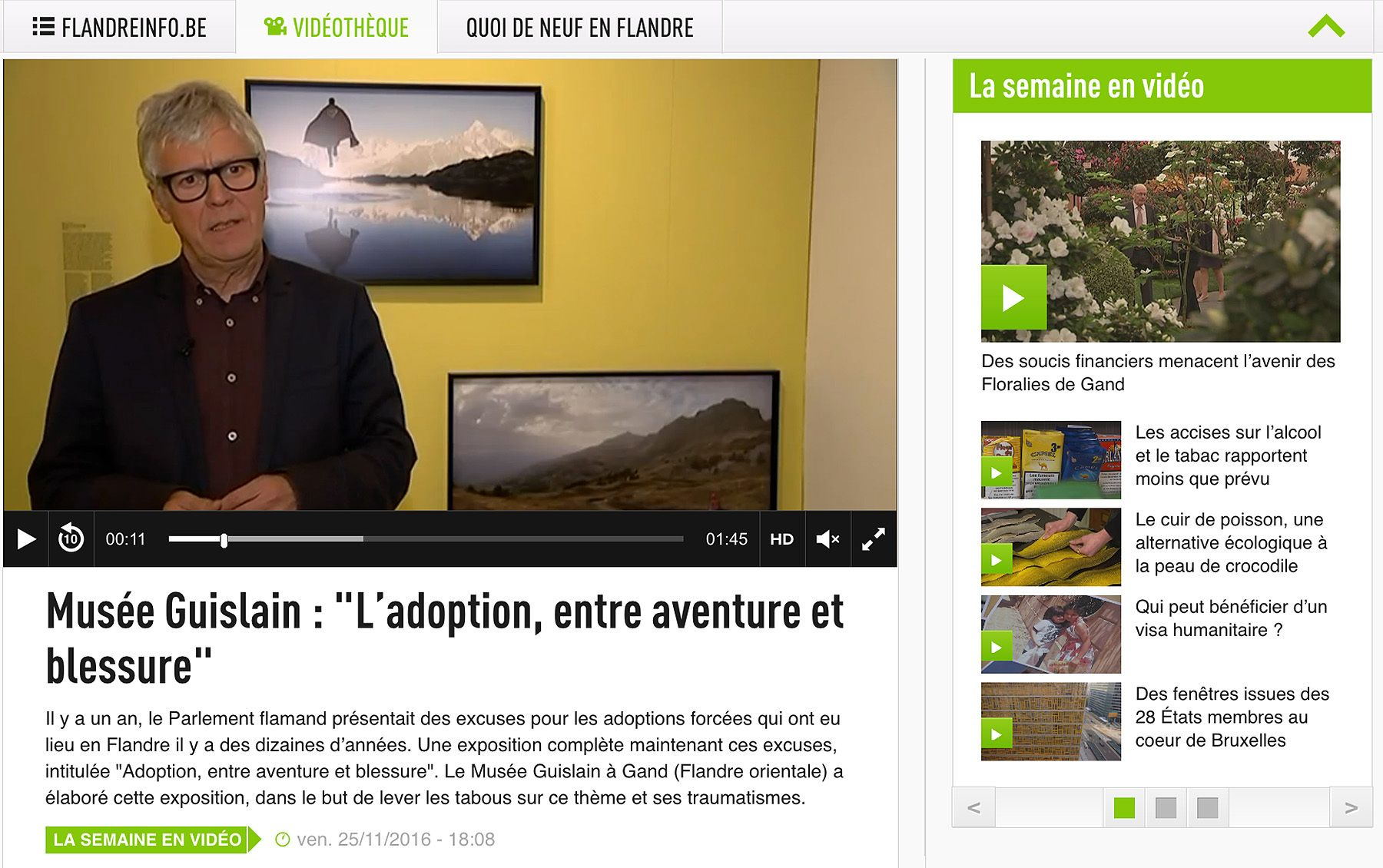 "Reportage on the Flemish TV (click here to watch it) about the exhibition ""Adoption"" in Museum Dr.Guislain in Gent (Belgium) where 2 artworks of the series ""The Quest for the Absolute"" are exhibited (from November 24th 2016 to April 16th 2017)."