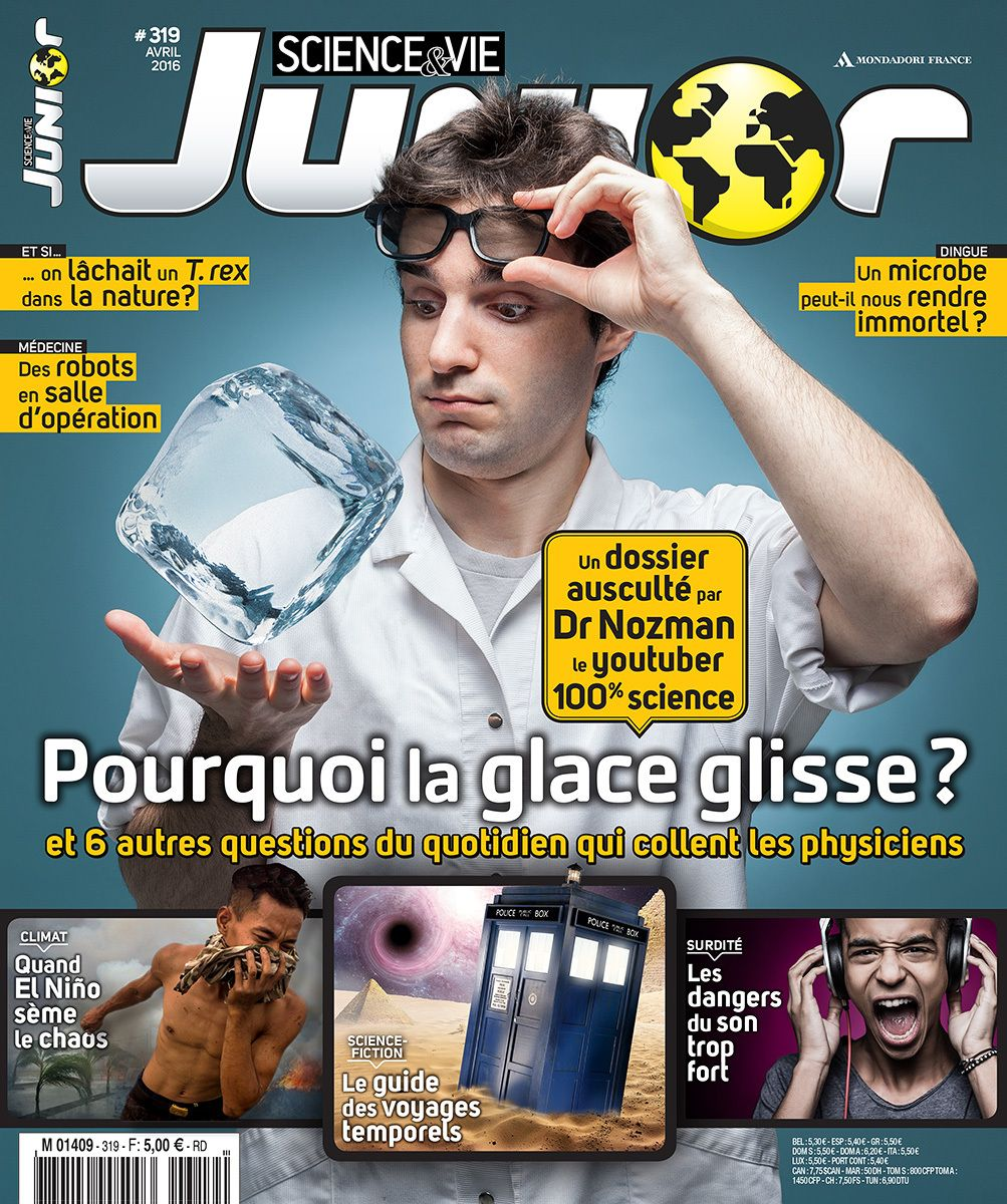 Photo cover for Sciences&Vie Junior Magazine (n°319, April 2016 - France), Portrait of the french Youtuber Dr Nozman - © Benoit Lapray, for SVJ