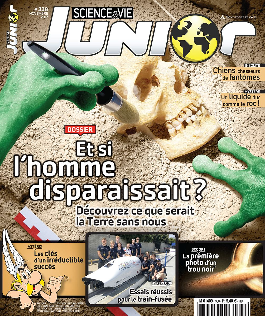 "Photo cover for Sciences&Vie Junior Magazine (n°338, November 2017 - France), topic ""Disappearance of human beings"""