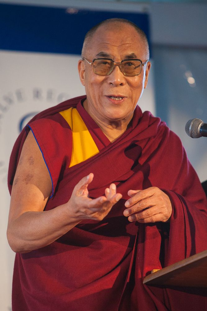 The Dalai Lama inspires his audience at Salve Regina University.