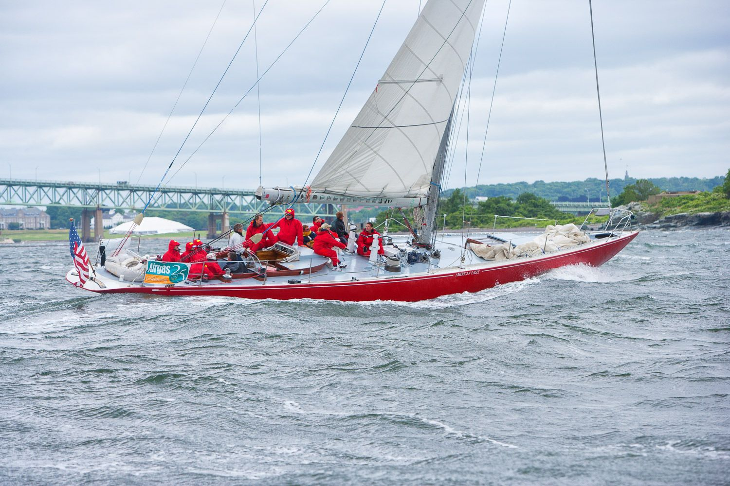Corporate vistors enjoying a afternoon sail on a 12-meter on Narragansett Bay.