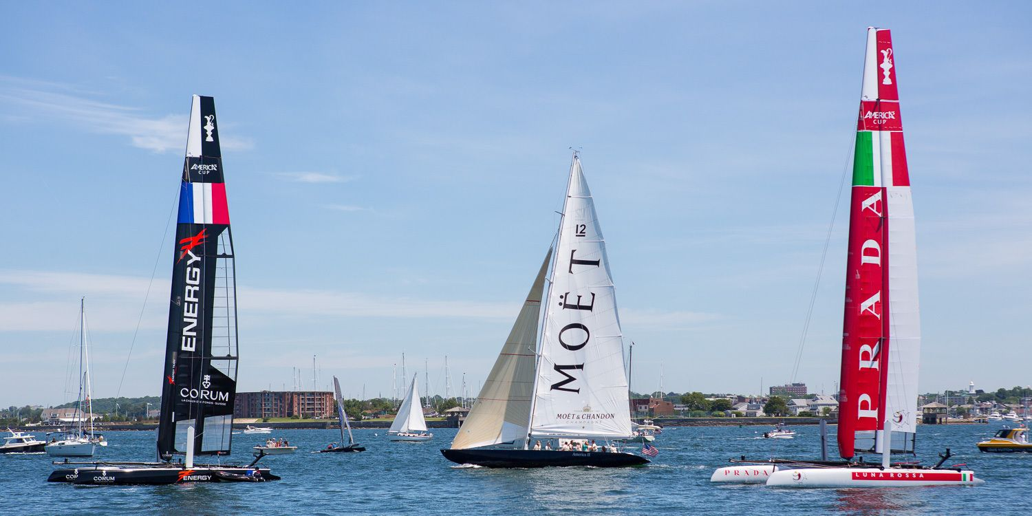 Some of the corporate sponsors of America's Cup trials in Newport:  Moét & Chandon and Prada
