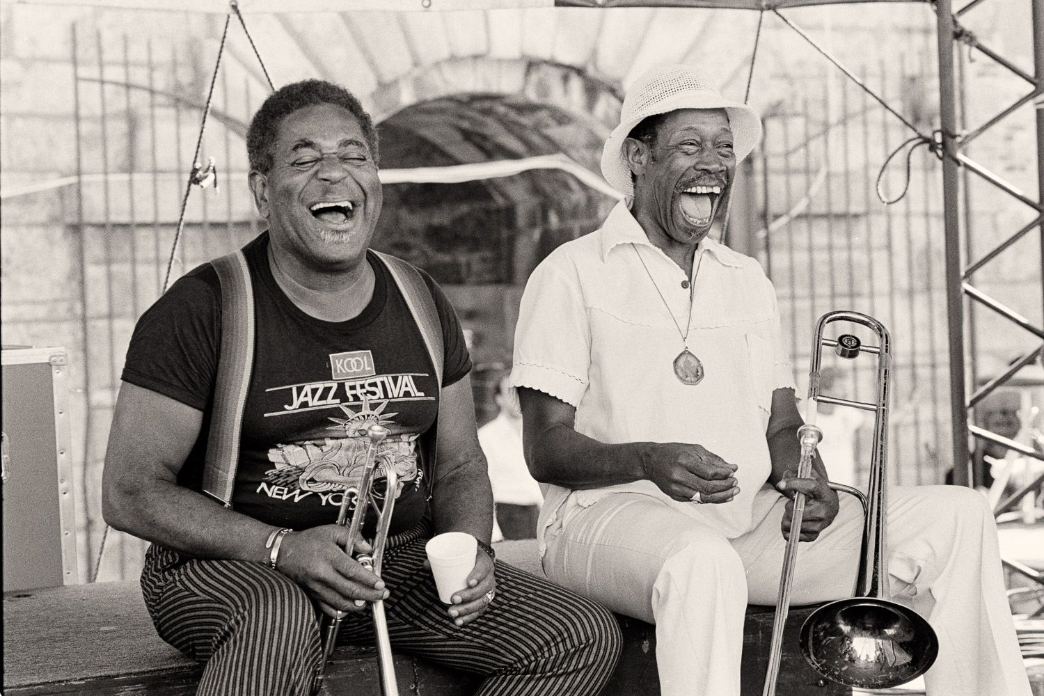 Dizzy Gillespie and with Al Gray enjoy each others company at Newport Jazz Festival