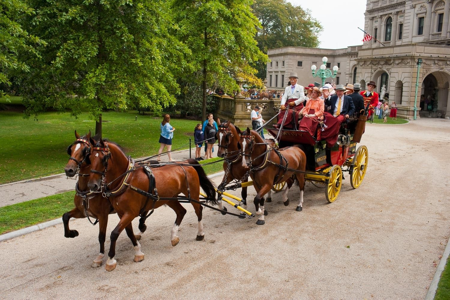 Authentic 19th century coaches drawn by highly-trained teams of horses in the triennial Newport event, a Weekend of Coaching,