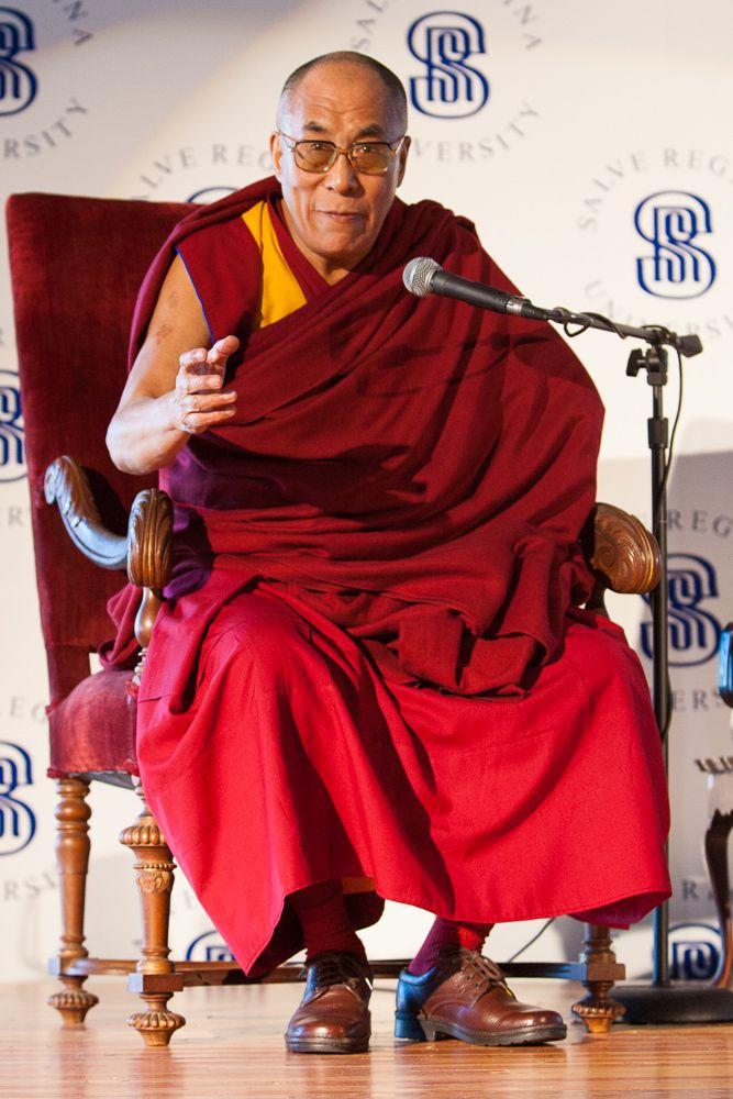 The Dalai Lama is warmly received at Salve Regina University in Newport.