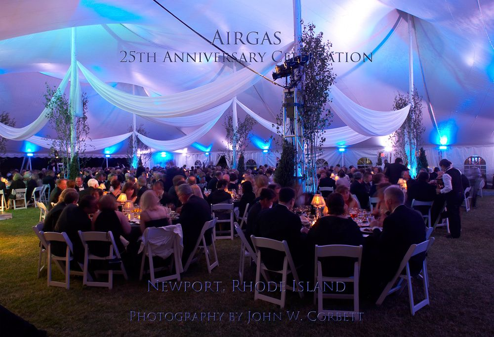 Airgas celebrates its 25th year with a dinner under a tent at Marble House in Newport.