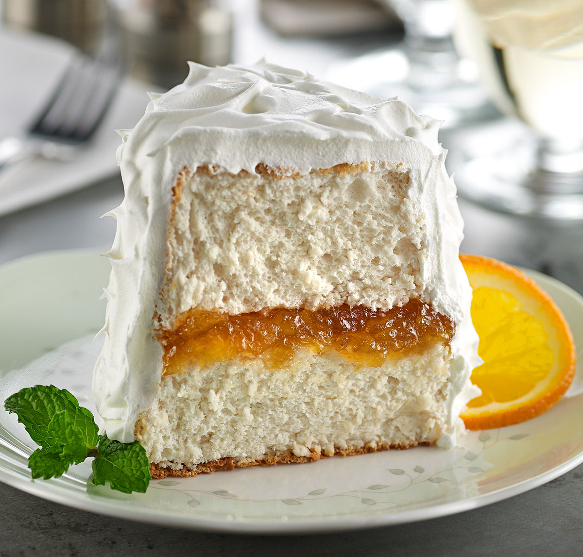 Orange spice angel food cake