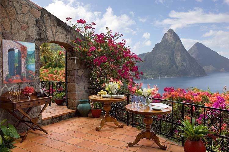architecture caribbean pitons