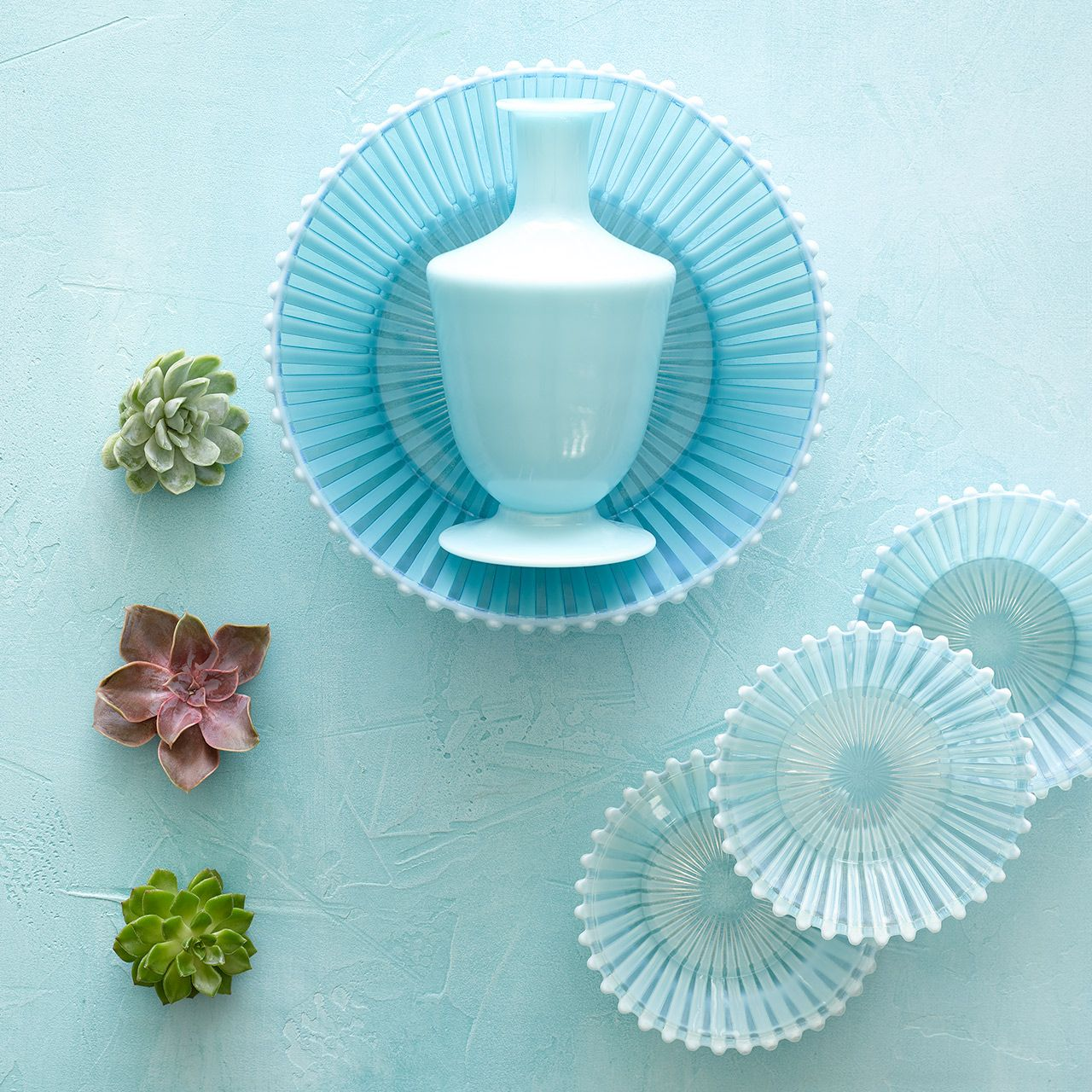 Vintage Blue Glass with Air Succulents