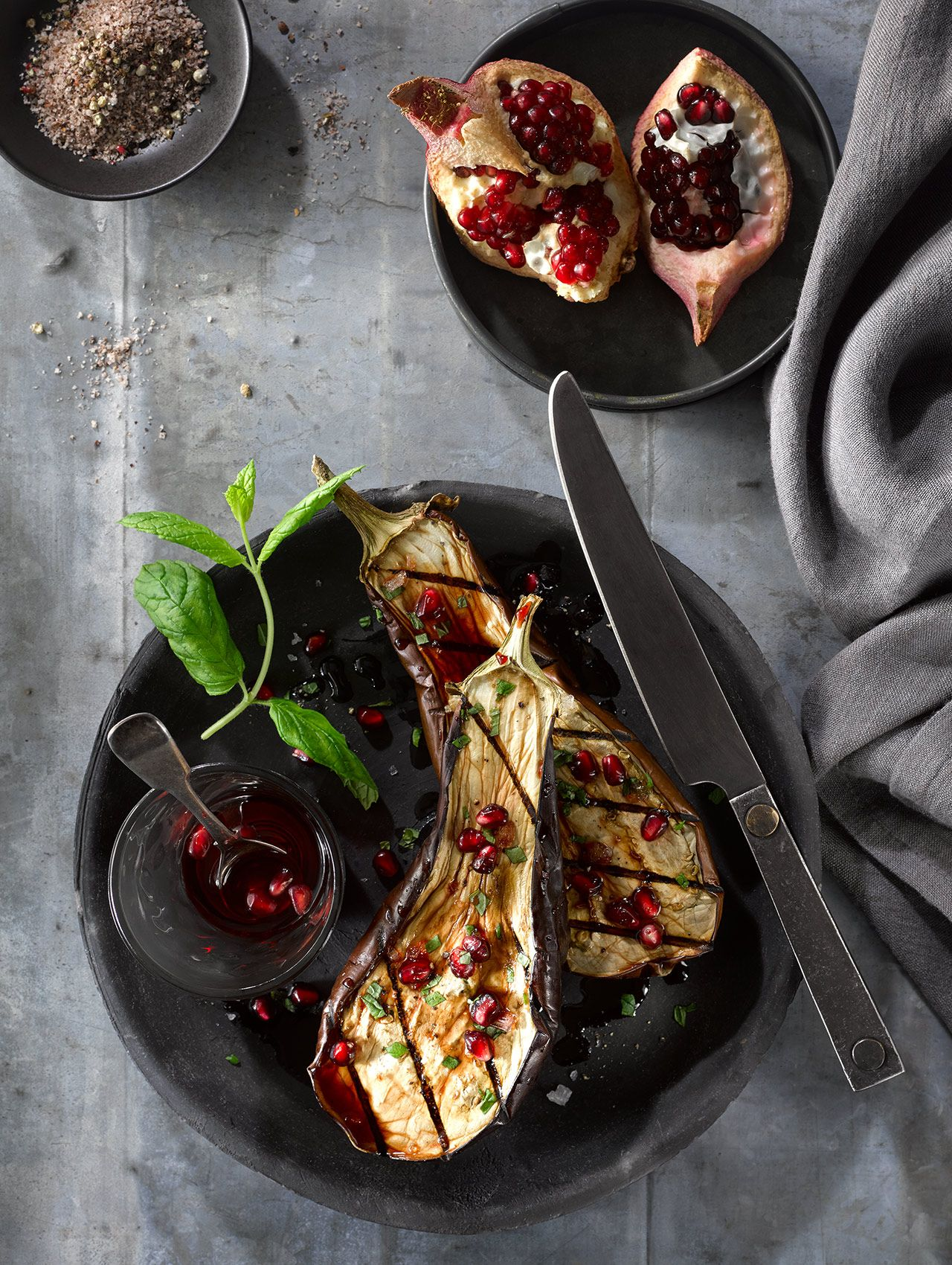 Grilled Eggplant with Pomegranate Seeds