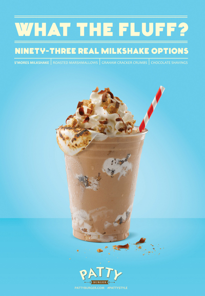 Patty Burger Chocolate Shake Ad