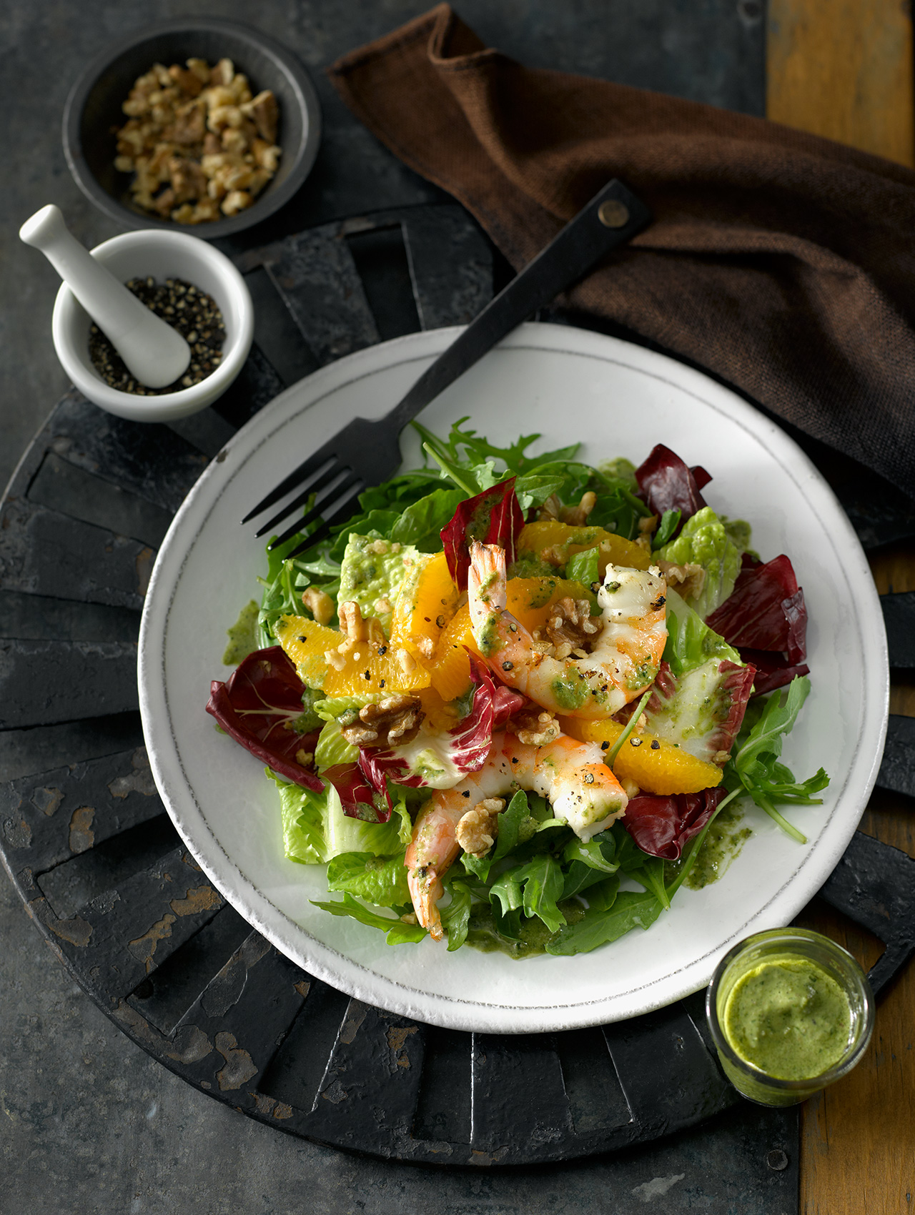 Orange Black Pepper Shrimp Salad