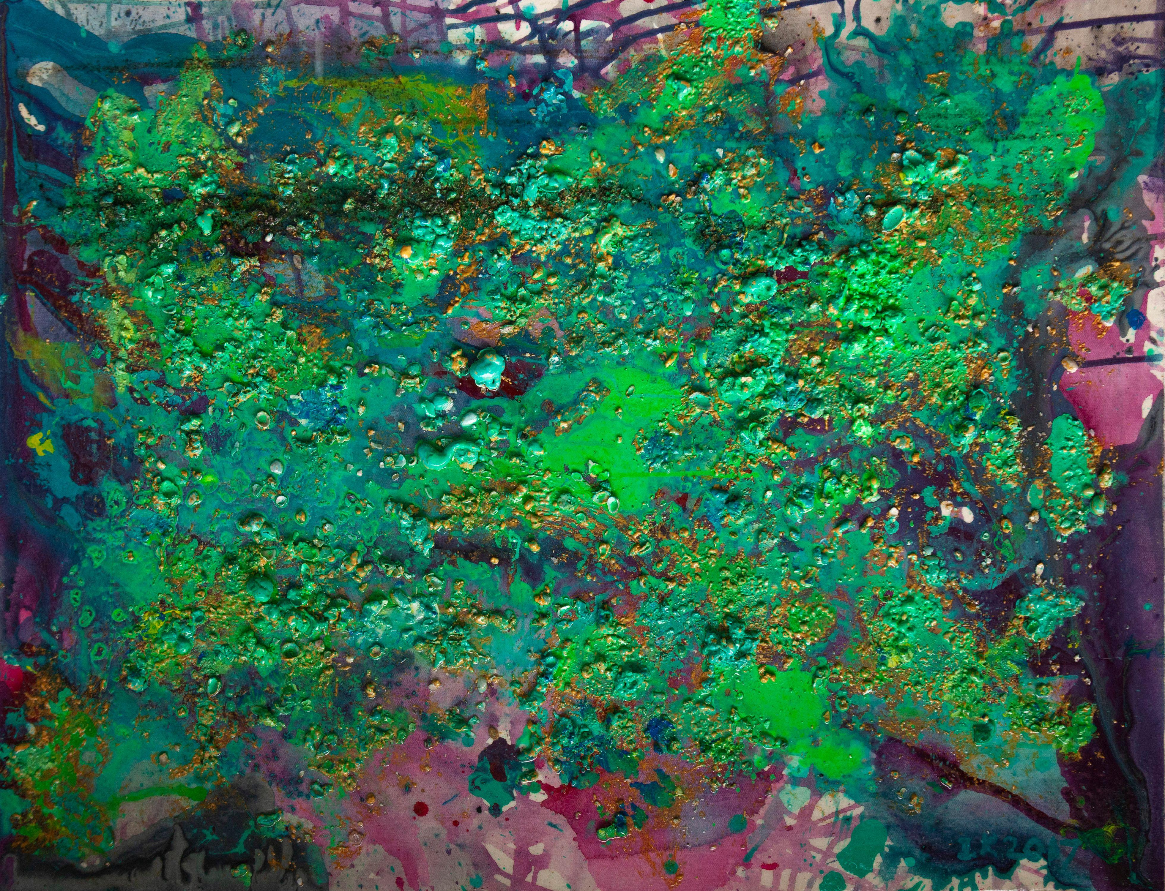 "Abstract #13  Green & Purple 36""x48"""