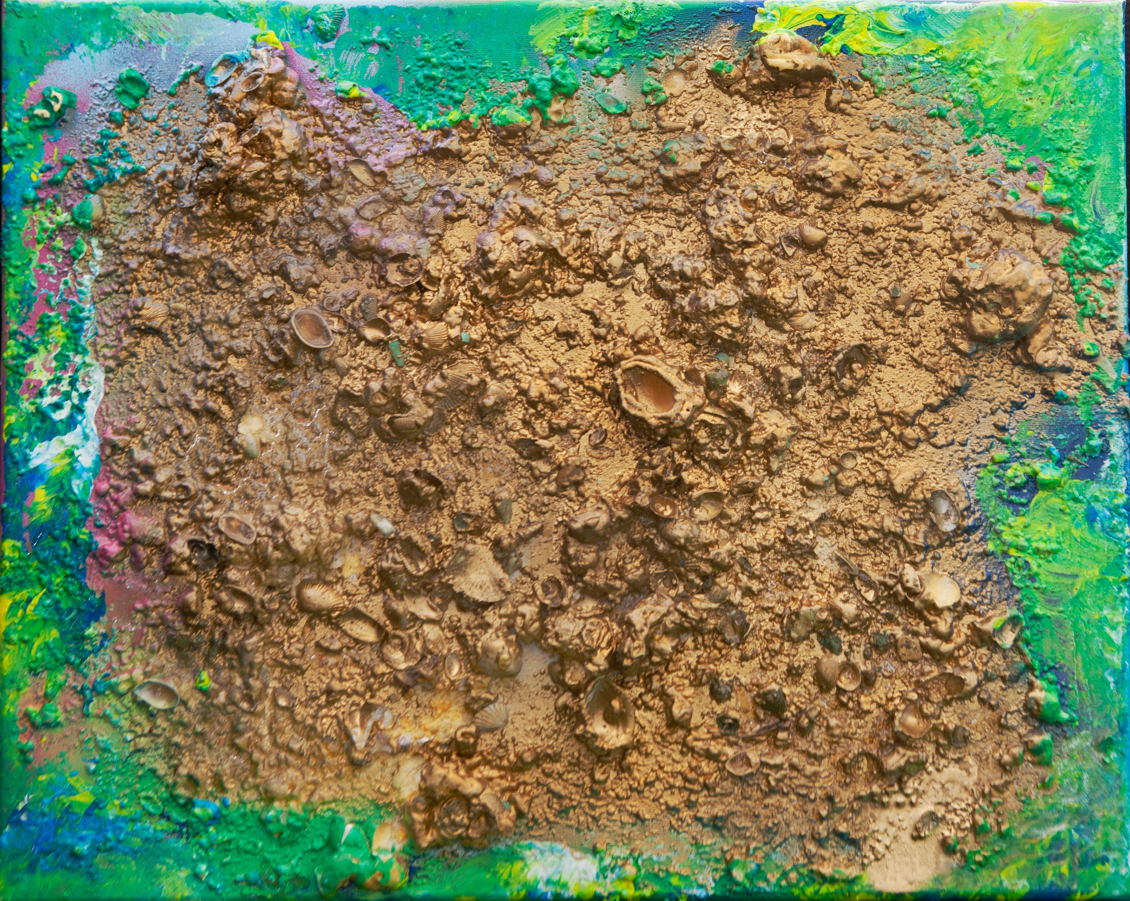 """Abstract #27 Gold, Green & Yellow 20""""x16"""""""