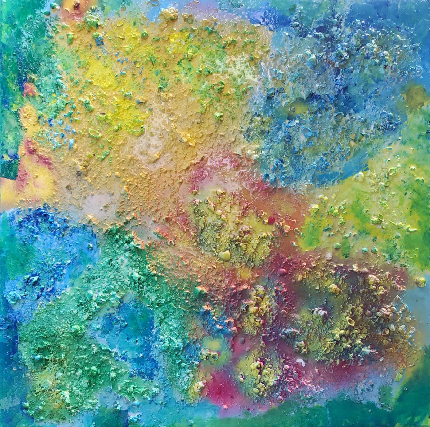 """Abstract #19  Bright Blue, Yellow & Pink 48""""x48"""""""