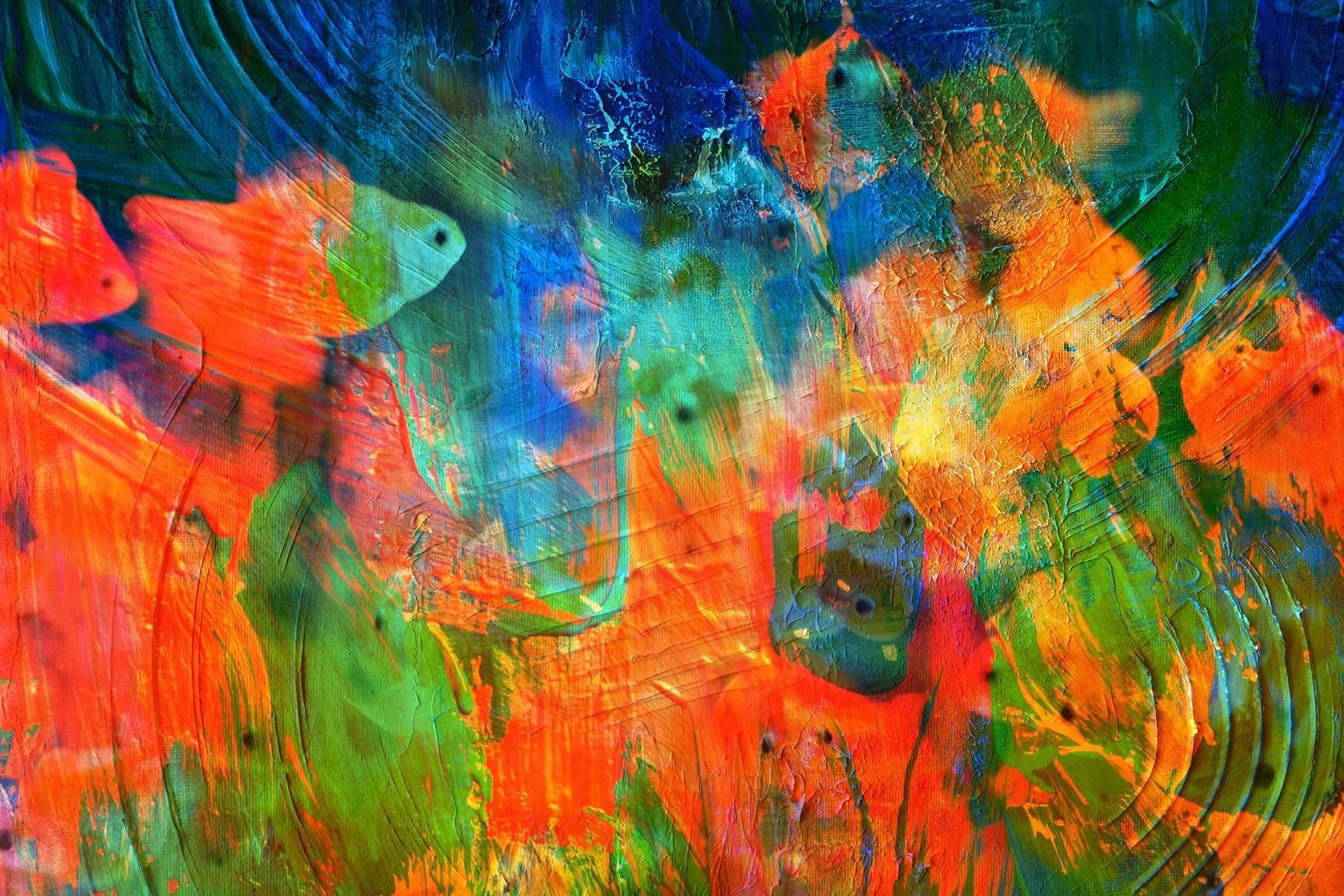 Abstract Orange & Blue Fish