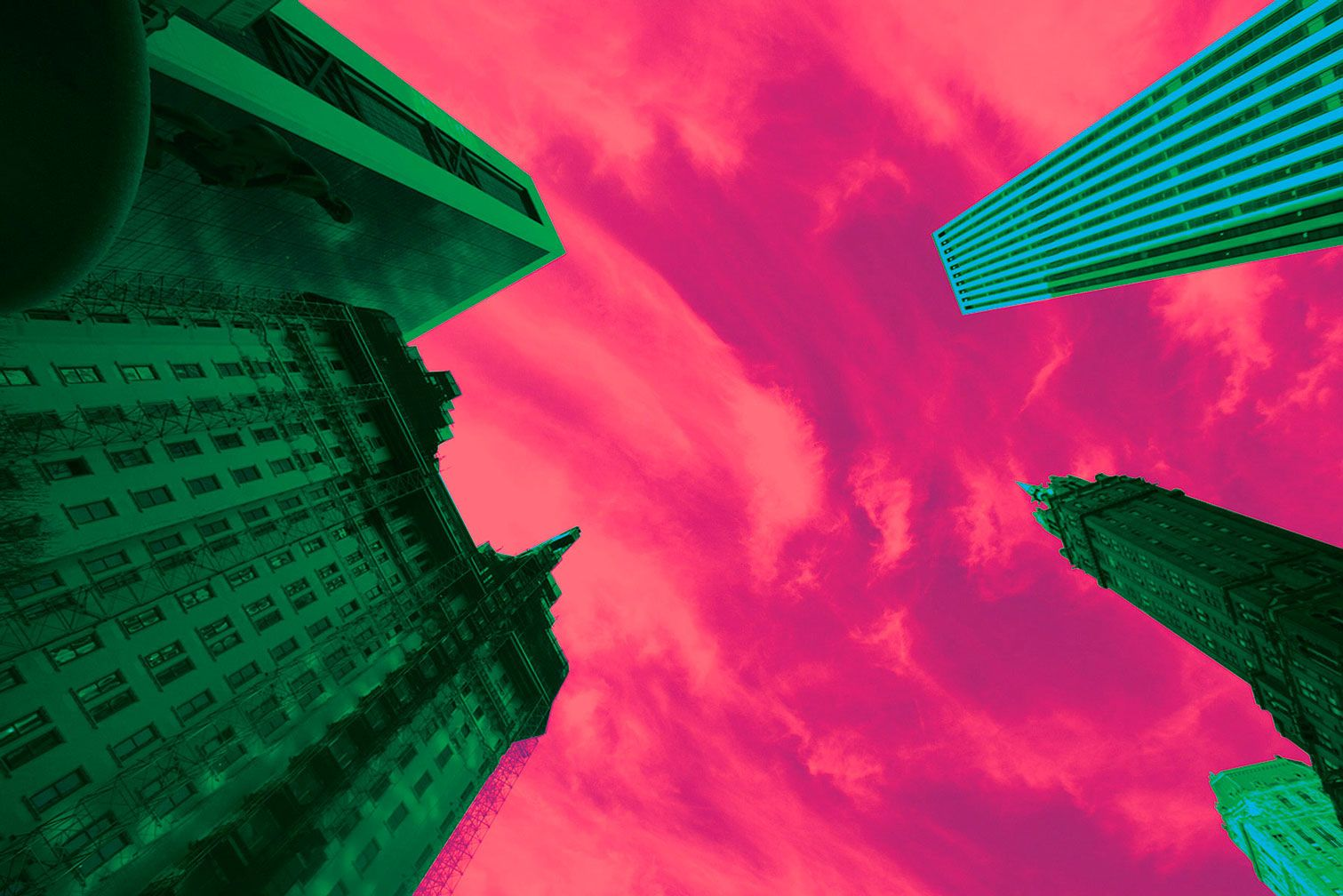 Green Buildings Meet Pink Sky