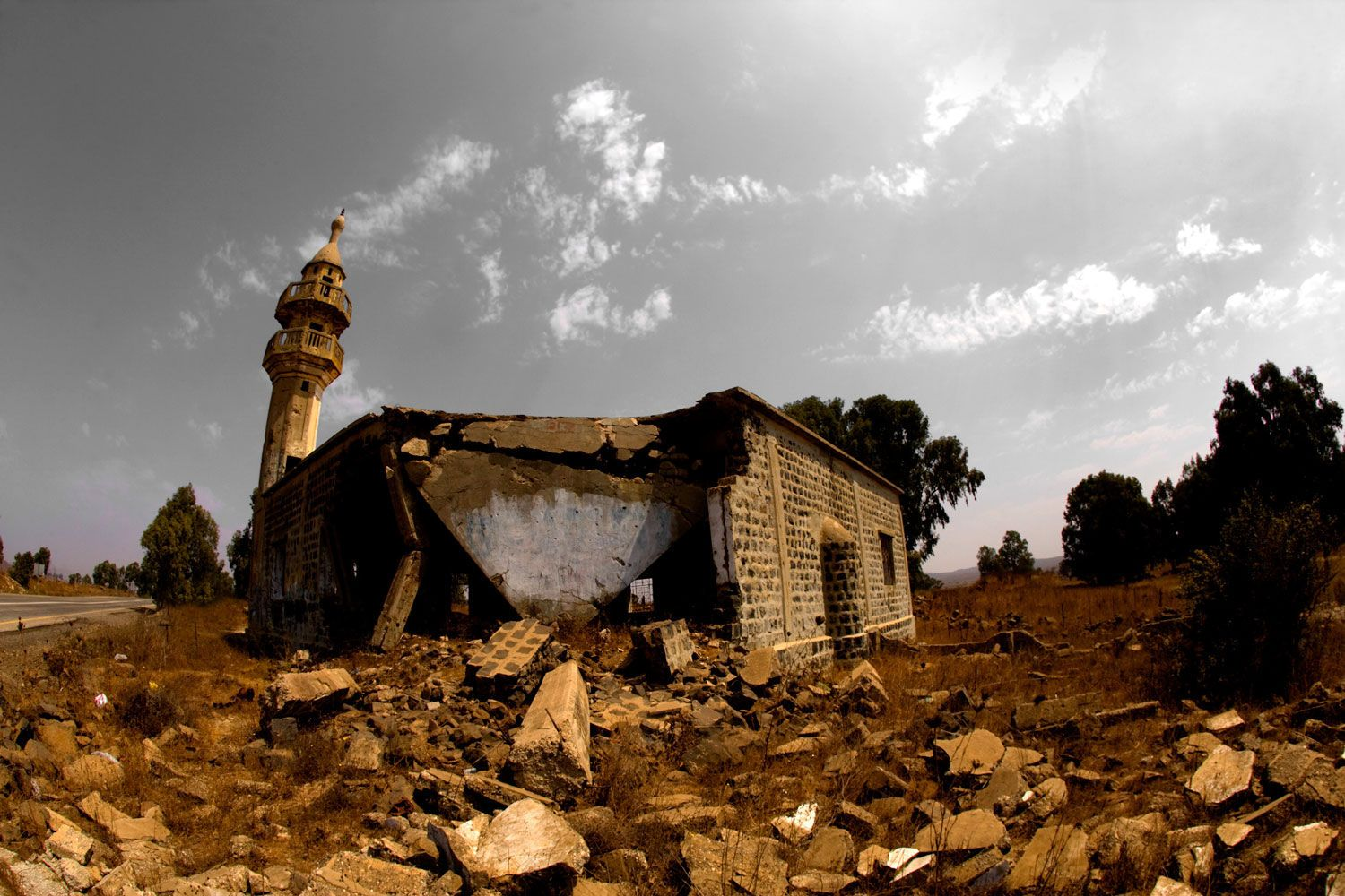 B&W with Color Golland Mountains - Memorial Mosque from Six Day War