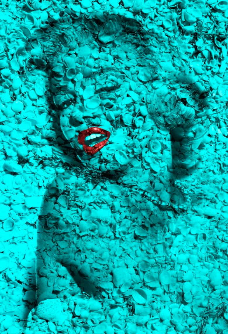 "Marilyn Portrait of Shells in Turquoise  60"" x 40"""