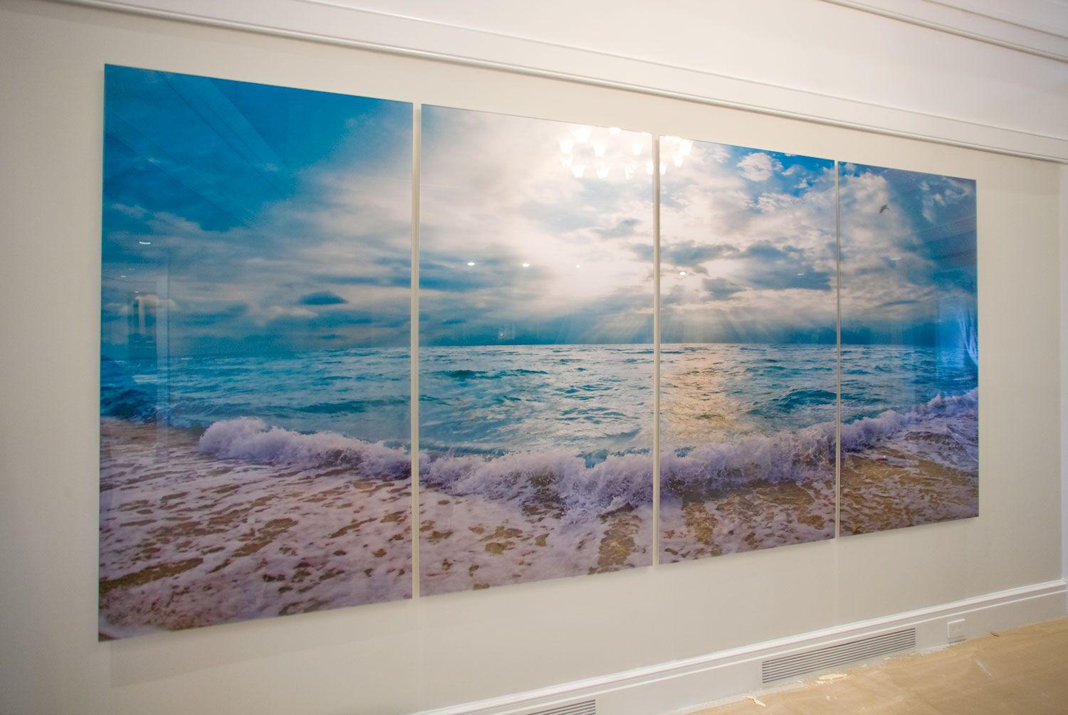 """Installation of 'Golden East End Sunset with Light Blue Water' - Four  70""""x36"""" panels"""