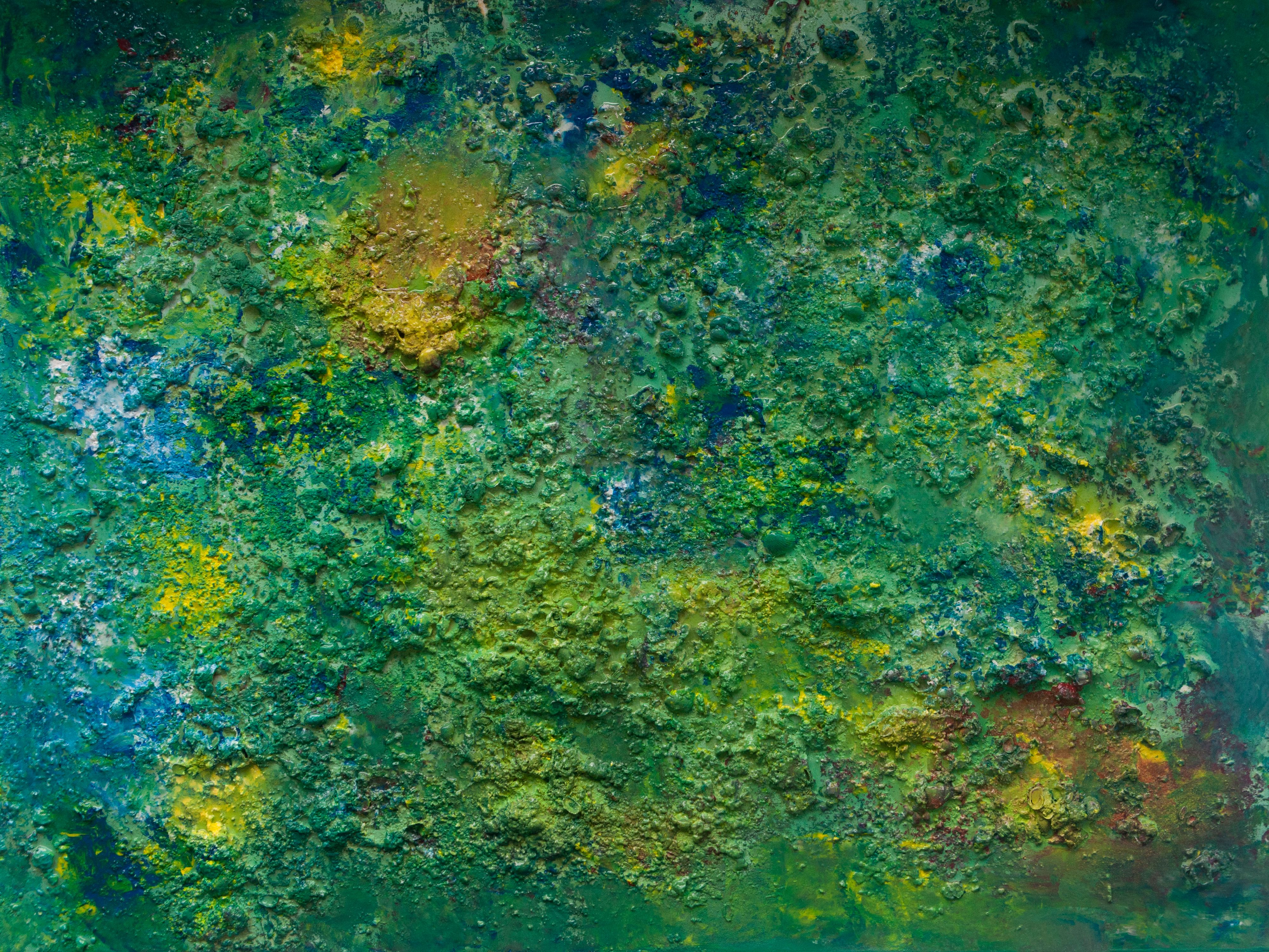 """Abstract #15  Yellow, Green and Blue 35""""x48"""""""