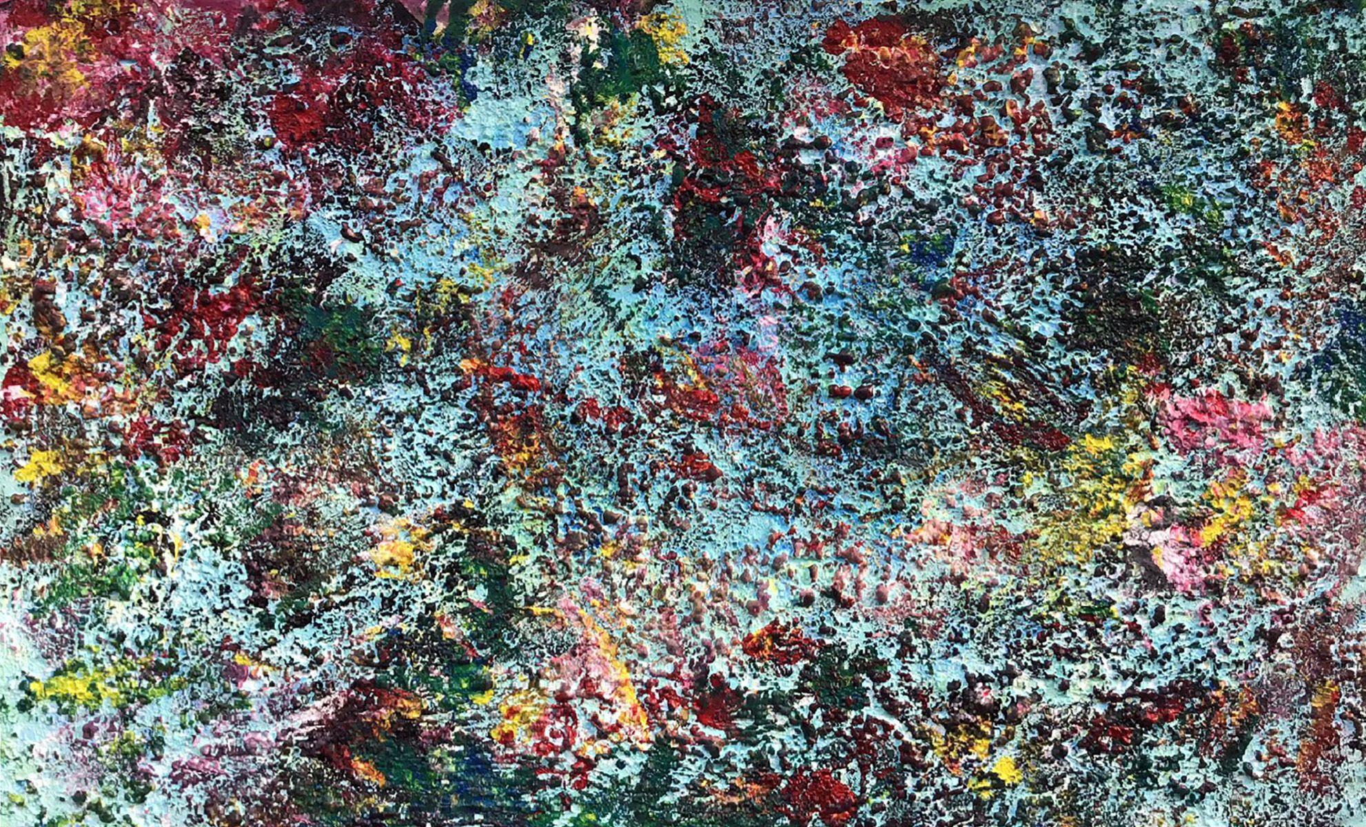 """Abstract #17 Island on Aqua 30""""x48"""""""