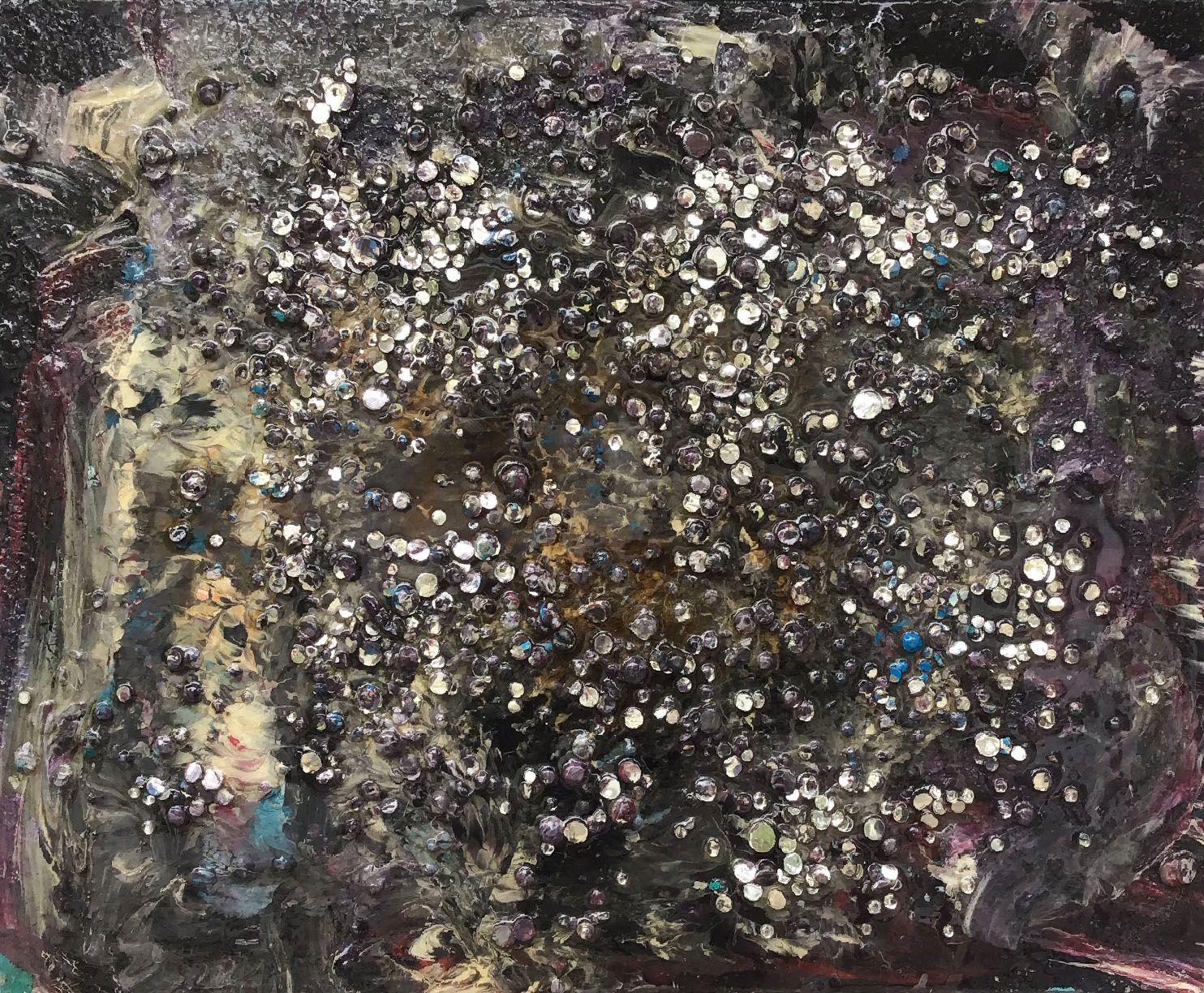 "Abstract #22  Black, White & Beige 20""x16"""