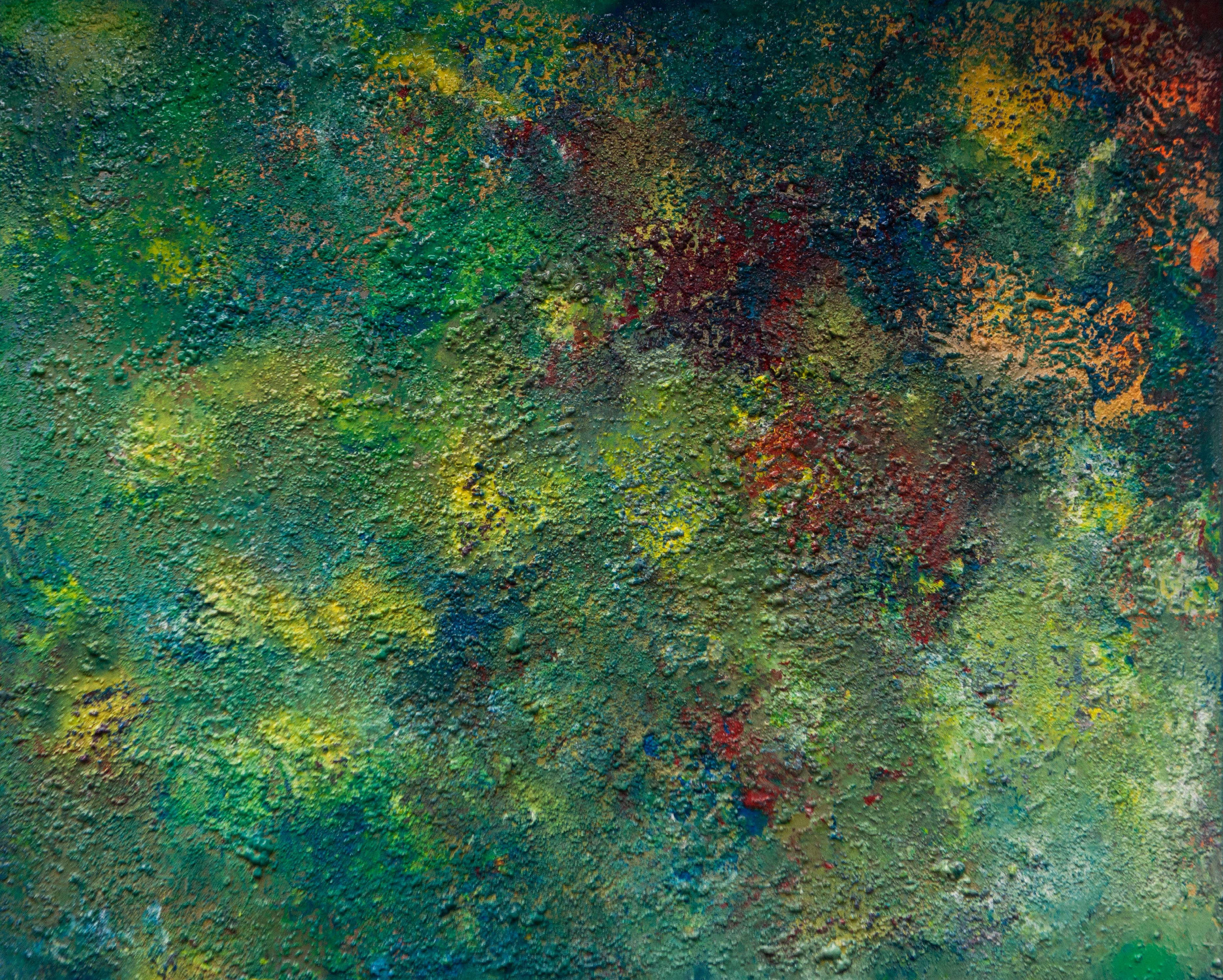"""Abstract #16  Green, Red and Yellow 48""""x60"""""""