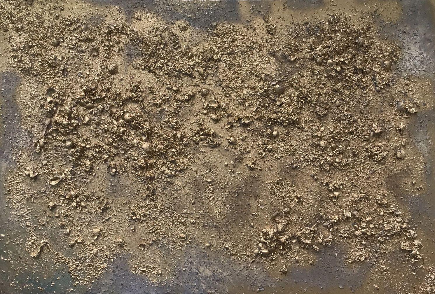 "Abstract #30  Golden Seashells 38""x58"""