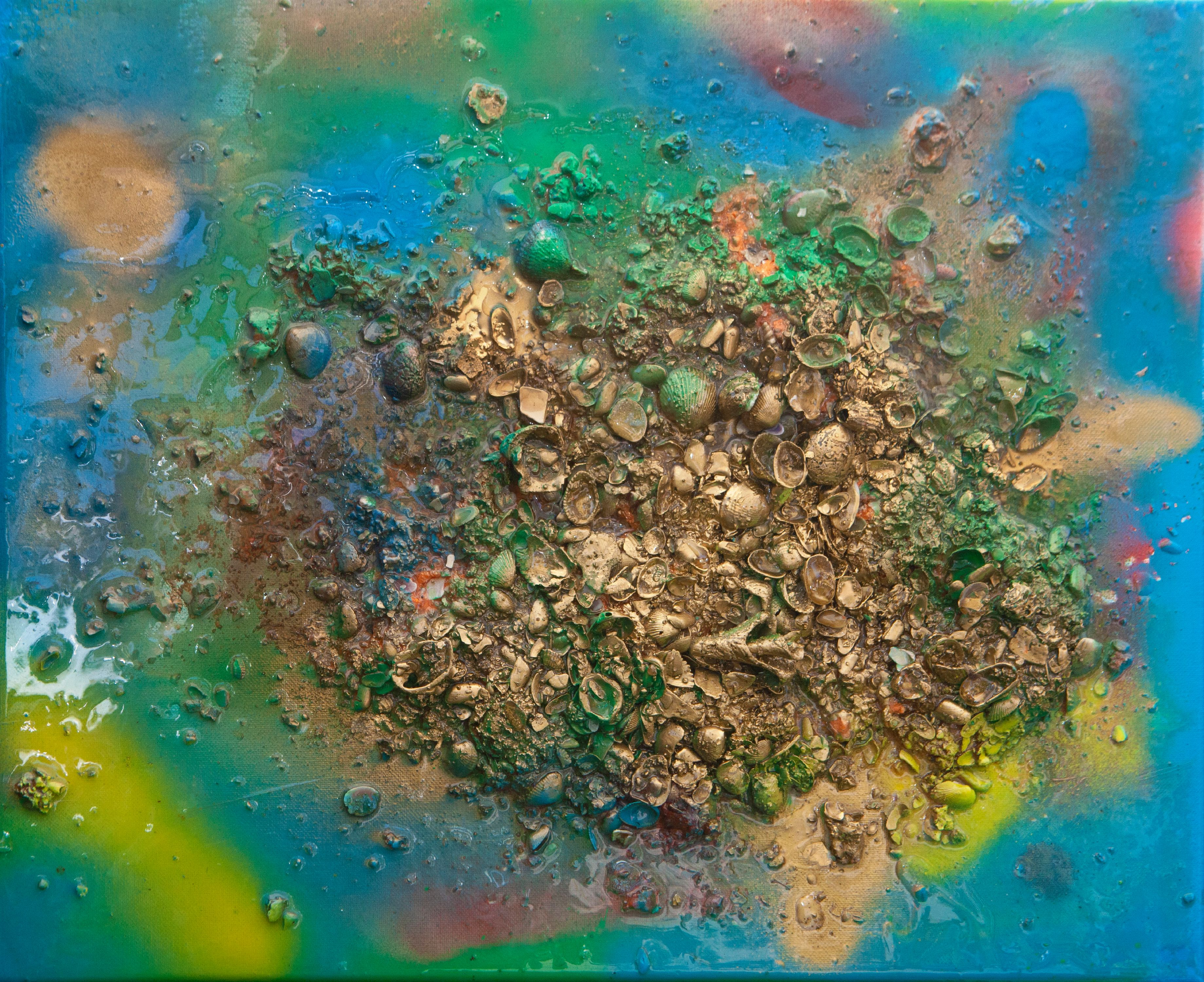"""Abstract #21 Gold, Blue & Green 20""""x16"""""""