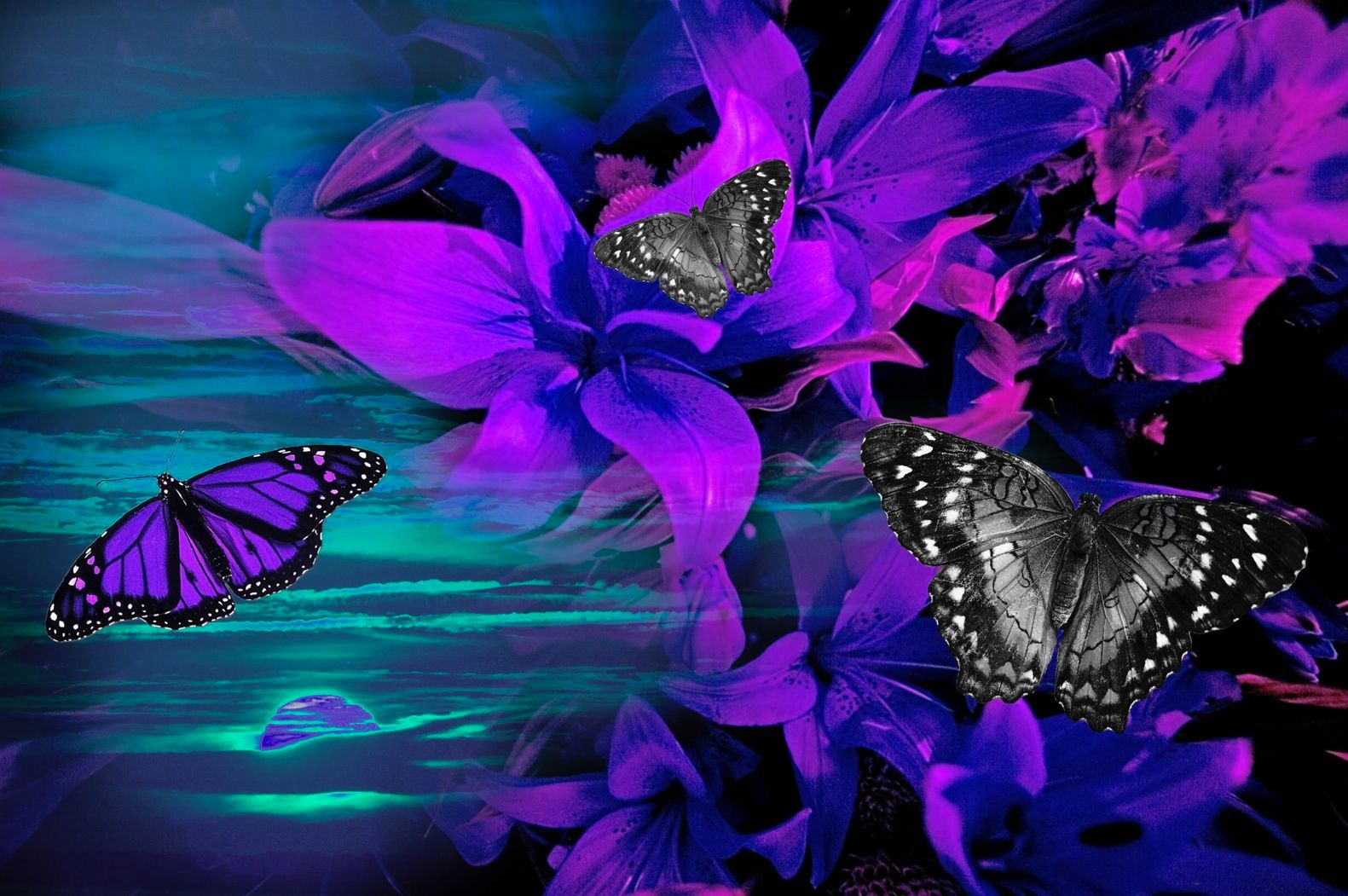 Purple Tropical Flower Sunset with Butterflies