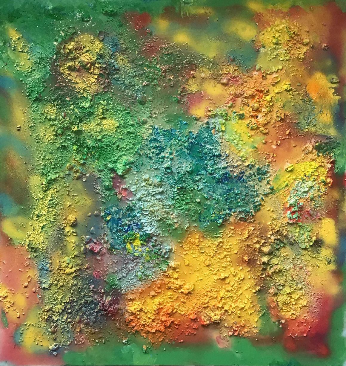 """Abstract #18  Green, Yellow, Red 48""""x48"""""""