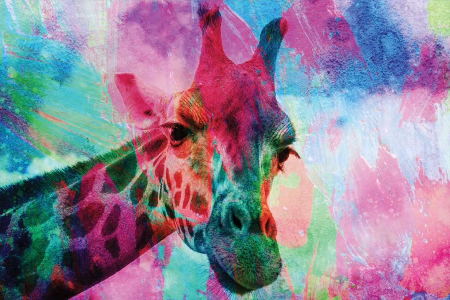 Abstract Giraffe in Rainbow