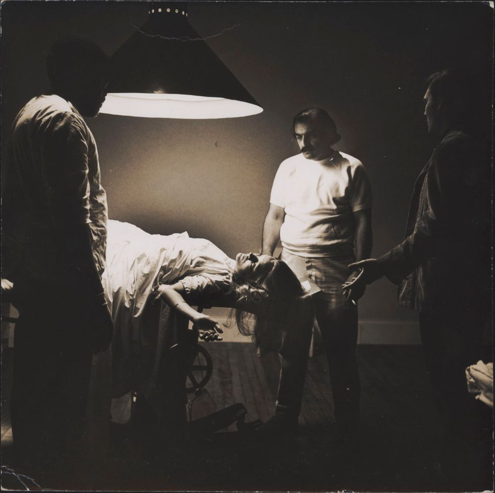 """On the set of End of the Road. James Earl Jones, Dorothy Tristan, Aram Avakian, Stacy Keach. Abortion scene. Photo by """"Koming"""""""