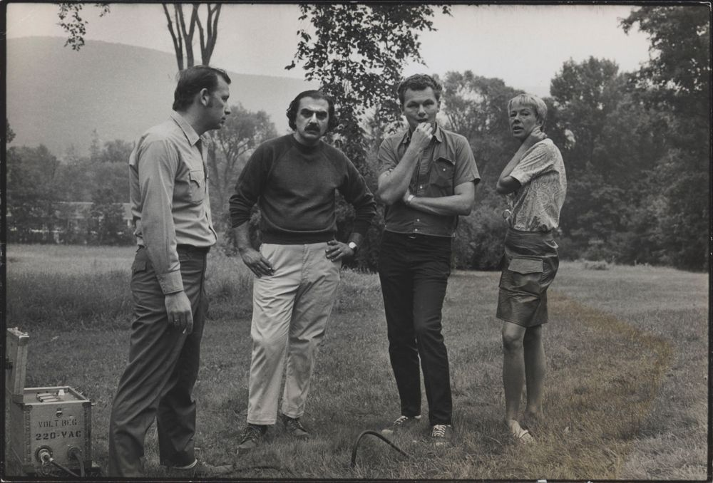 "On the set of End of the Road. Producer Steve Kesten, Director Aram Avakian, Director of Photography Gordon Willis, Script Supervisor Nancy Hopton. Photo by ""Koming"""