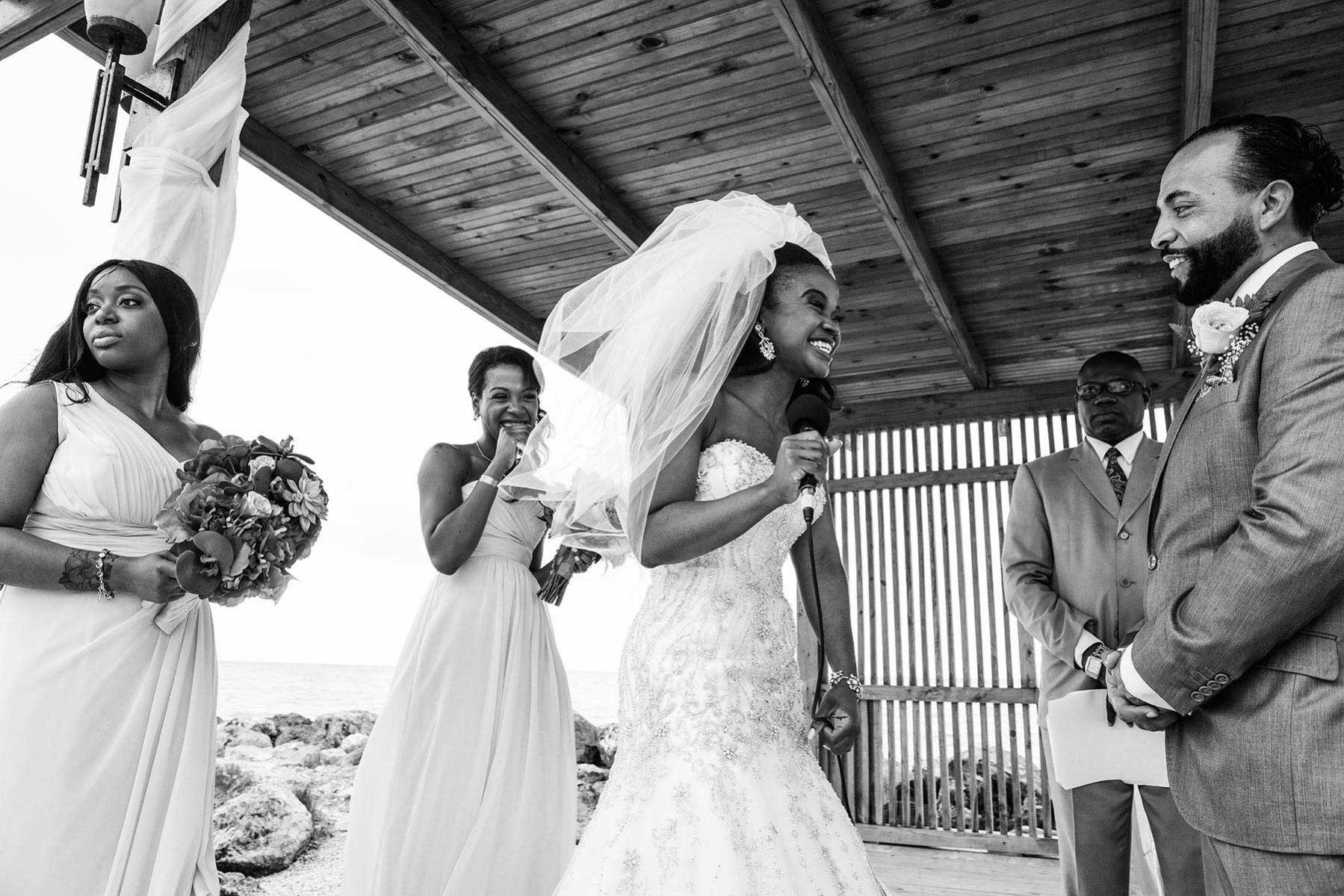 Wedding ceremony, happy moment between bride and groom