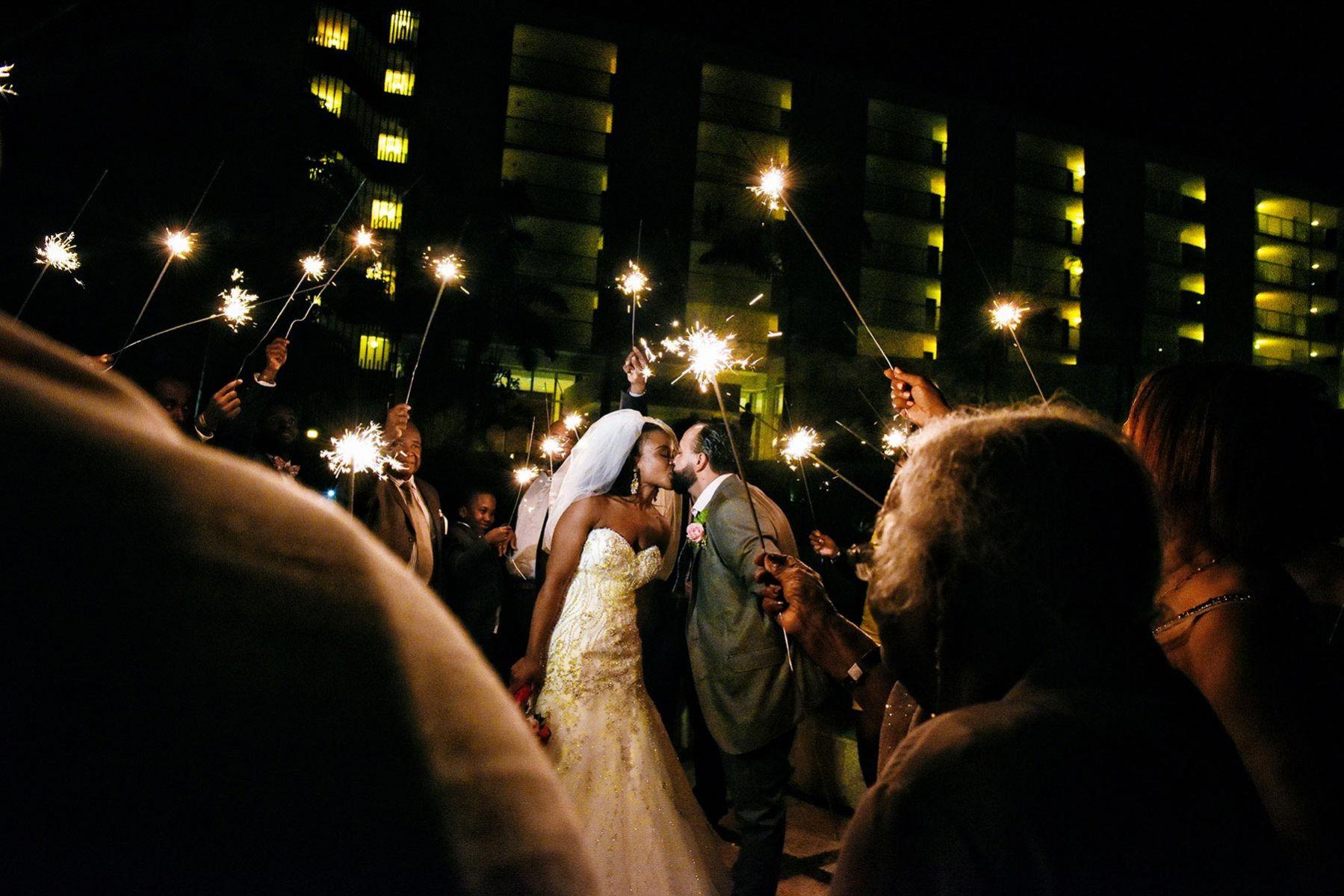 Montreal wedding photographer, wedding sparklers,